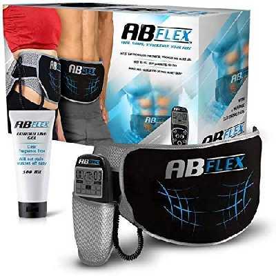 ABFLEX AB Toning Belt pour Les Muscles de l'estomac Mince et Tonique - Aucun Coussin de Remplacement jamais - Télécommande Pratique pour des ajustements Rapides et faciles (Noir)