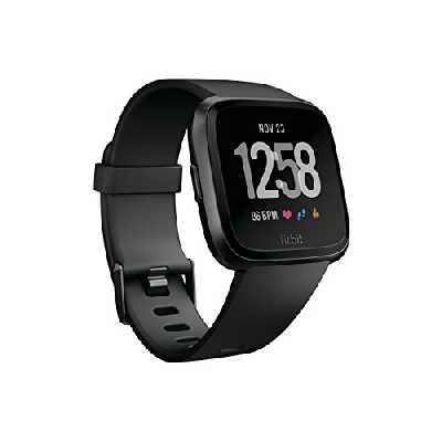 Fitbit Versa - Montres Connectées Forme, Sport et Bien-être : Plus de 4 Jours d'autonomie, Étanche, Suivi Fréquence Cardiaque, Noir