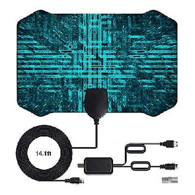 2020 Newest Antenne TV Interieur, 120 Miles /200 km d'autonomie Antenne TNT Intérieure avec 4m câble coaxial de - VHF/UHF/FM, Prise en Charge 4K 1080p et Tous Les téléviseurs Plus Anciens